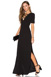 Lucca Couture High Slits Lace Up Maxi Dress Black