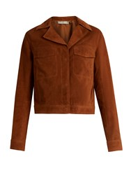 Vince Notch Lapel Suede Jacket Tan