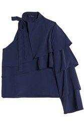 W118 By Walter Baker One Shoulder Crepe De Chine Ruffled Blouse Navy