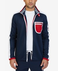 Nautica Men's Colorblocked Track Jacket Navy