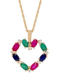 Macy's Multi Gemstone Heart Pendant Necklace 2 5 8 Ct. T.W. In 14K Gold Yellow Gold