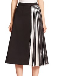 Proenza Schouler Pleated Panel Suiting Skirt Black White