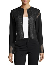 Elie Tahari Clearly Leather And Mesh Jacket