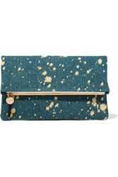 Clare V. Fold Over Denim Clutch Blue