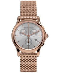 Emporio Armani Unisex Swiss Chronograph Rose Gold Ion Plated Stainless Steel Bracelet Watch 36Mm Ars6009