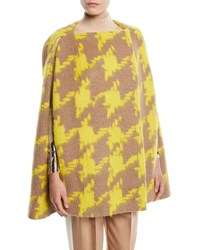 Delpozo Houndstooth Crossover Wool Alpaca Cape Yellow