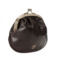 Maxwell Scott Bags Brown Ball Clasp Coin Wallet For Ladies