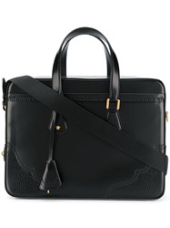 Versace Perforated Leather Briefcase Black