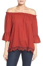 Bobeau Women's Off The Shoulder Lace Hem Top New Rust