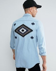 Liquor And Poker Denim Shirt Embroidered Taping Blue