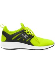 Emporio Armani Ea7 Perforated Lace Up Sneakers Yellow