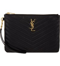 Saint Laurent Monogram Quilted Leather Pouch Black