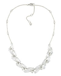 Carolee Cluster Necklace 16 Silver
