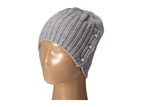 Michael Michael Kors Jersey Shallow Hat With Buttons Pearl Heather Grey Polished Nickel Caps Gray
