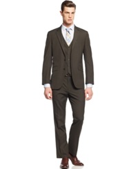 Unlisted By Kenneth Cole Brown Multi Stripe Slim Fit Vested Suit