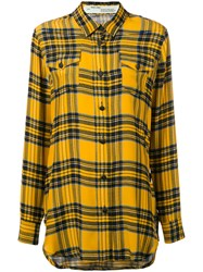 Off White Long Sleeve Check Shirt Women Silk Xs Yellow Orange