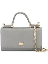 Dolce And Gabbana Mini 'Von' Wallet Crossbody Bag Grey