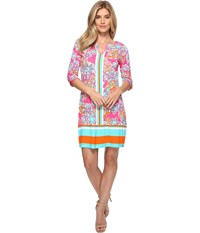 Hatley Peplum Sleeve Dress Kauai Floral Tropics Women's Dress Pink