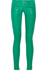 Balmain Moto Quilted Paneled Leather Pants Green