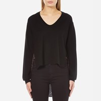 Alexander Wang T By Women's Superfine Merino Knit Pullover With Woven Viscose Combo Black