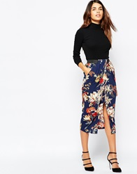 Warehouse Floral Wrap Midi Skirt Navy