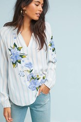 Akemi Kin Embroidered And Striped Blouse Blue