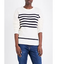 Frame Boxy Boyfriend Knitted Jumper Off White Navy