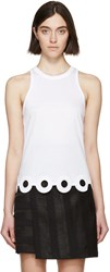 Carven White Lasercut Circle Tank Top