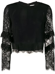 Patrizia Pepe Lace Sleeves Sweater Black