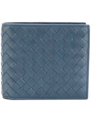Bottega Veneta Denim Intrecciato Coin Purse Bi Fold Wallet Blue