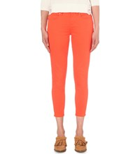 Karen Millen Skinny High Rise Cropped Jeans Coral
