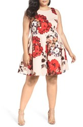 Taylor Dresses Plus Size Women's Tossed Floral Fit And Flare Dress