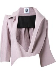 Aganovich Asymmetric Lapel Cropped Jacket Pink And Purple