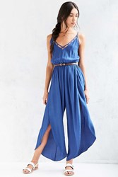 Ecote Lattice Spliced Wide Leg Jumpsuit Blue