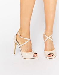 Lipsy Vernetta Nude Patent Cross Strap Heeled Sandals Nude Beige