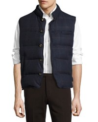Luciano Barbera Heritage Windowpane Quilted Vest Blue Brown