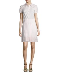 Tory Burch Emmy Embroidered Eyelet Shirtdress Pink Ice Women's
