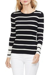 Vince Camuto Ribbed Stripe Sweater Rich Black