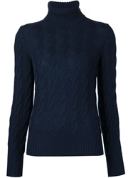 Loro Piana Cable Knit Turtleneck Sweater Blue