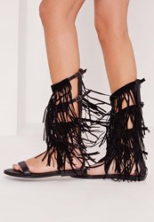 Missguided Fringe Detail Knee High Flat Gladiator Sandals Black Black
