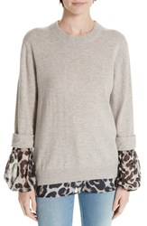Brochu Walker Layered Animal Print Wool And Cashmere Sweater