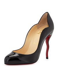 Christian Louboutin Wawy Dolly Patent Squiggly Heel Red Sole Pump Black Size 35.5B 5.5B