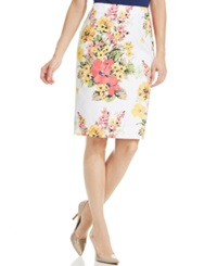 Charter Club Plus Size Floral Print Pencil Skirt Bright White