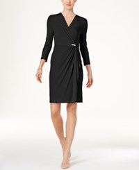 Charter Club Faux Wrap Dress Only At Macy's Deep Black