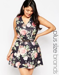 Club L Plus Size Skater Dress In Botanical Print With Chain Belt Blackfloral