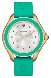 Michele 'Cape' Topaz Dial Silicone Strap Watch 40Mm Green Gold