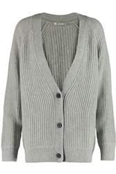 Alexander Wang Ribbed Wool And Cashmere Blend Cardigan Gray