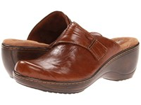 Softwalk Mason Cognac Vintage Waxy Wrinkled Leather Clog Shoes Tan
