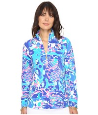 Lilly Pulitzer Skipper Popover Multi Hit The Spot Women's Long Sleeve Pullover Blue