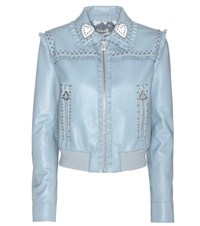 Miu Miu Embellished Leather Jacket Blue